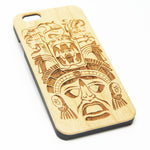 Aztec Maya Wood Engraved iPhone 6s Case iPhone 6 Case iPhone 6s 6 Plus Cover Natural Wooden iPhone 5s 5 Case Samsung Galaxy S7 Edge S6  S5 Case D123 - Apple iPhone Xs/iPhone Xr case by Retina Designs