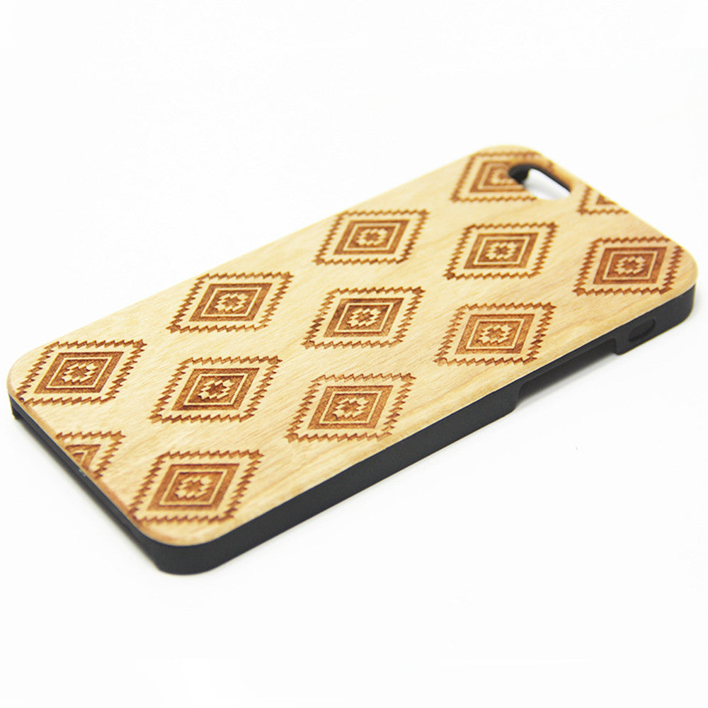 Rhombus Geometric Wood Engraved iPhone 6s Case iPhone 6 Case iPhone 6s 6 Plus Cover Natural Wooden iPhone 5s 5 Case Samsung Galaxy S7 Edge S6 S5 Case D124
