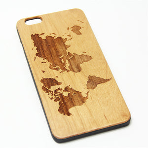 World Map Wood Engraved iPhone 6s Case iPhone 6 Case iPhone 6s 6 Plus Cover Natural Wooden iPhone 5s 5 Case Samsung Galaxy S7 Edge S6 S5 Case D126 - Apple iPhone Xs/iPhone Xr case by Retina Designs