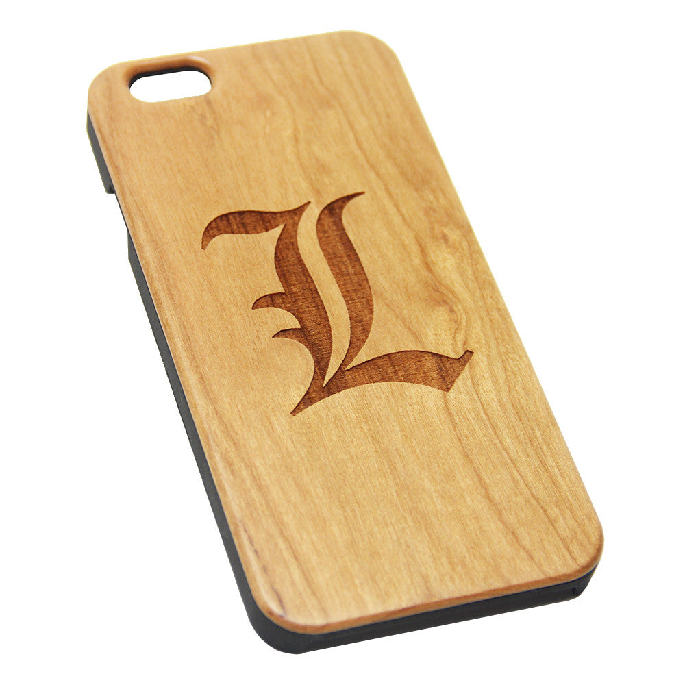L Deathe Note Logo Anime Wood Engraved iPhone 6s Case iPhone 6 Case iPhone 6s 6 Plus Cover Natural Wooden iPhone 5s 5 Case Samsung Galaxy S6 S5 Case D128 - Apple iPhone Xs/iPhone Xr case by Retina Designs
