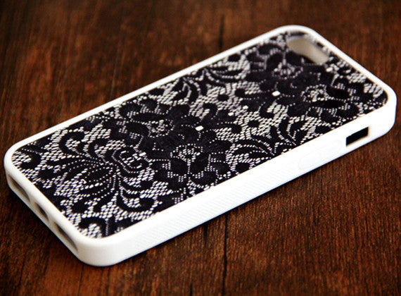 Black Lace Floral iPhone 6s 6 plus case iPhone 6s rubber case iPhone 5s 5 5c silicone case iPhone 6 Case - Apple iPhone Xs/iPhone Xr case by Retina Designs