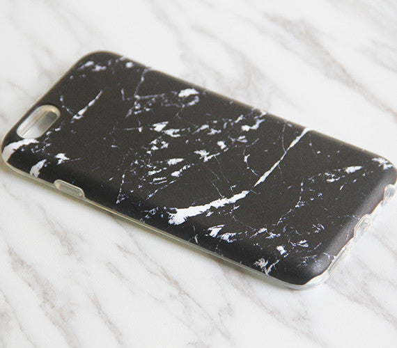 Black Marble Stone Print Tough Protective iPhone XS Max Case Galaxy S8 plus S7 Edge SE Snap Case 3D 859 - Apple iPhone Xs/iPhone Xr case by Retina Designs