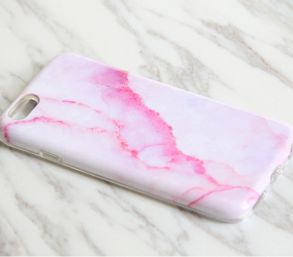 Pink Marble Stone Print Tough Protective iPhone 6s Case iPhone 6 plus S7 Edge SE Snap Case 3D 966