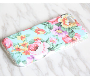Pink Turquoise Floral Tough Protective iPhone XS Max Case Galaxy S8 plus S7 Edge SE Snap Case 3D 977 - Apple iPhone Xs/iPhone Xr case by Retina Designs