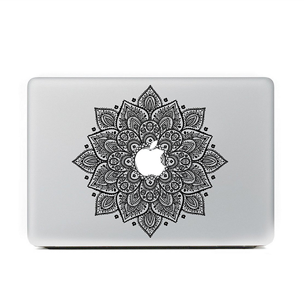 "Black Mandala Floral MacBook Skin Decal Sticker for Apple Macbook Pro Air Mac 13"" inch Laptop 13 Inch N0009"