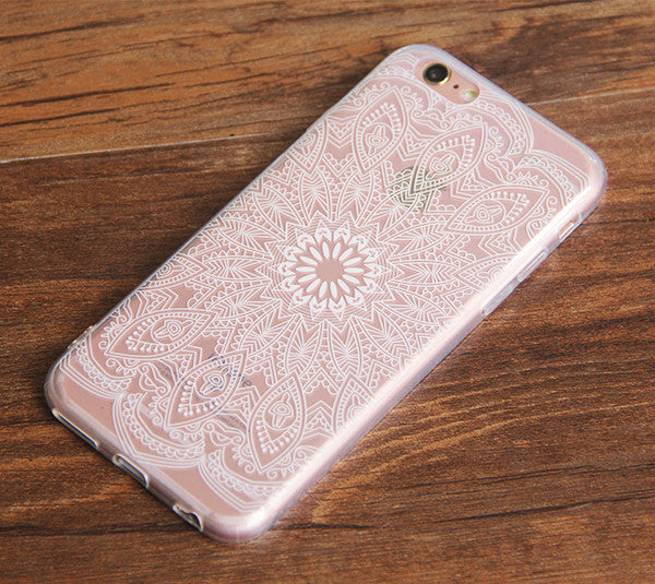iPhone 6S Clear Case iPhone 6 Transparent Case iPhone 6s 6 Plus  Soft Slim Thin Durable Protective Case Retro White Floral N0037-1 - Apple iPhone Xs/iPhone Xr case by Retina Designs
