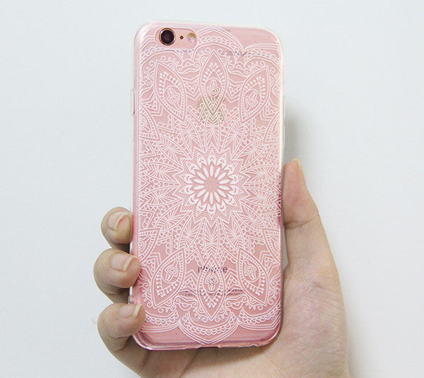 White Lace Mandala Floral iPhone 6S 6 Clear Case iPhone 6 Plus Transparent  iPhone 6S Plus Soft TPU Case  N0037 - Apple iPhone Xs/iPhone Xr case by Retina Designs