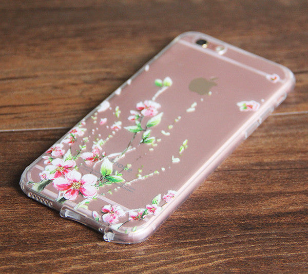 Spring  Pink Flowers iPhone 6S 6 Clear Case iPhone 6 Plus Transparent  iPhone 6S Plus Soft Rubber Case  N0039 - Retina Designs