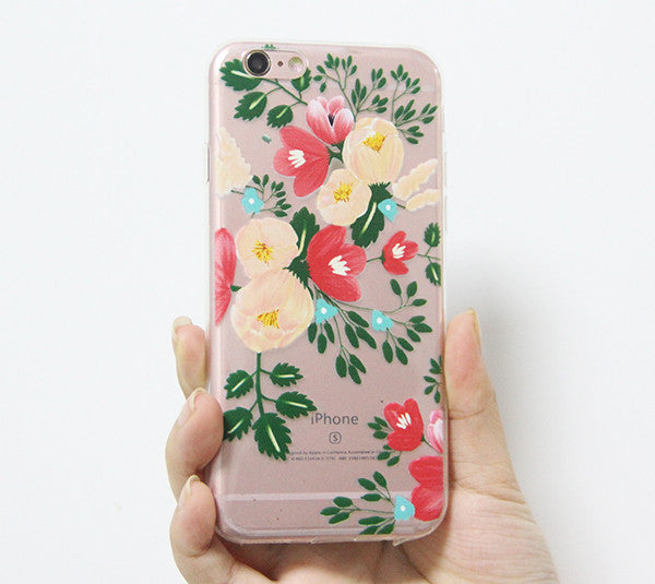 Poppy Flowers iPhone 6S 6 Clear Case iPhone 6 Plus Transparent  iPhone 6S Plus Soft Rubber Case  N0040