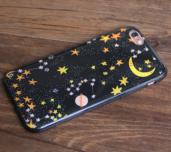 Moon Stars Universe  iPhone 6S 6 Rubber Case iPhone 6S 6 Plus Protective Cover N0043 - Apple iPhone Xs/iPhone Xr case by Retina Designs