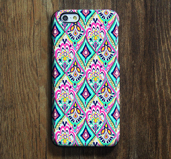 Ethnic Coral Floral iPhone XR Case | iPhone XS Max plus Case | iPhone 5 Case | Galaxy Case 3D N058 - Retina Designs