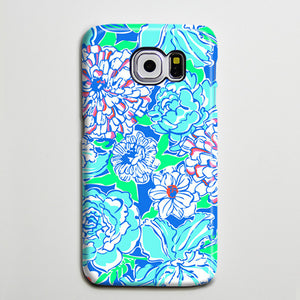 Blue White Floral Turquoise Galaxy S8 Plus Case Galaxy S7 Case Samsung Galaxy Note 5  Phone Case s6-138 - Apple iPhone Xs/iPhone Xr case by Retina Designs