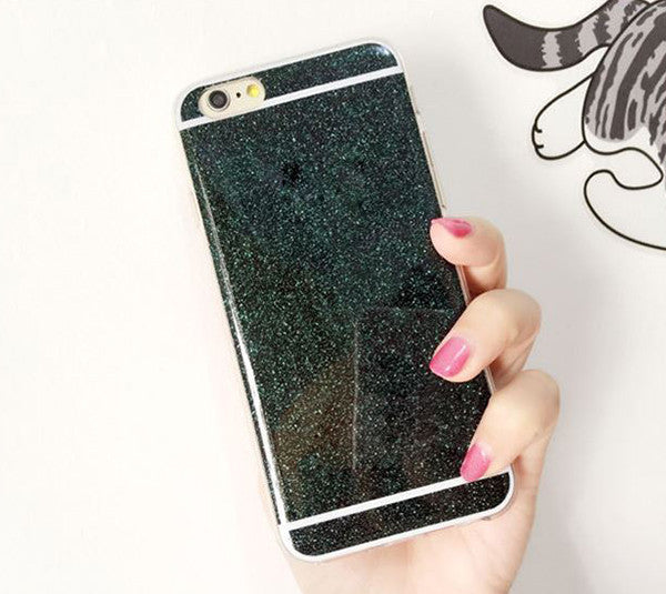 Luxury Shiny  Glitter iPhone 6S 6 Plus 5S 5 SE Soft TPU Case Dual Slim  Black SJK-0001-2