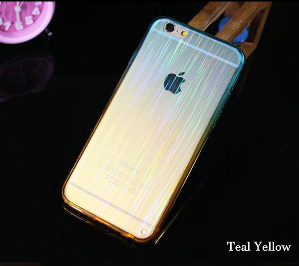 Gradient Color iPhone 6S 6 Plus 5S 5 SE Soft TPU Case Slim Laser Stripes Purple Yellow SJK-0002-2 - Apple iPhone Xs/iPhone Xr case by Retina Designs
