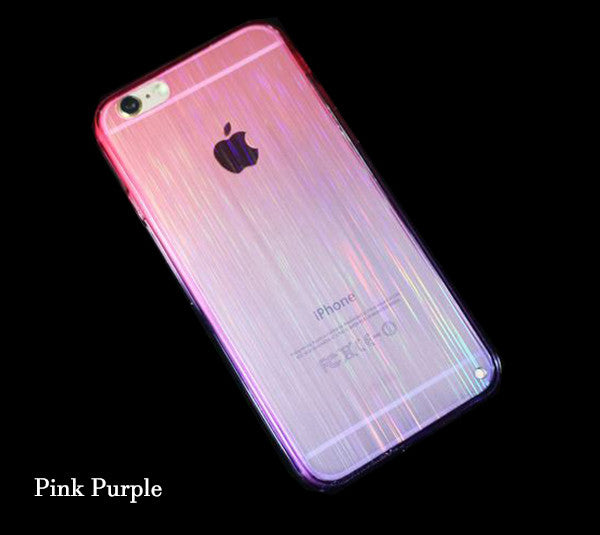 Gradient Color iPhone 6S 6 Plus 5S 5 SE TPU Case Slim Laser Stripes Purple Pink SJK-0002-3