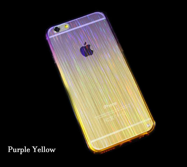 Gradient Color iPhone 6S 6 Plus 5S 5 SE Soft TPU Case Slim Laser Stripes Purple Yellow SJK-0002-2