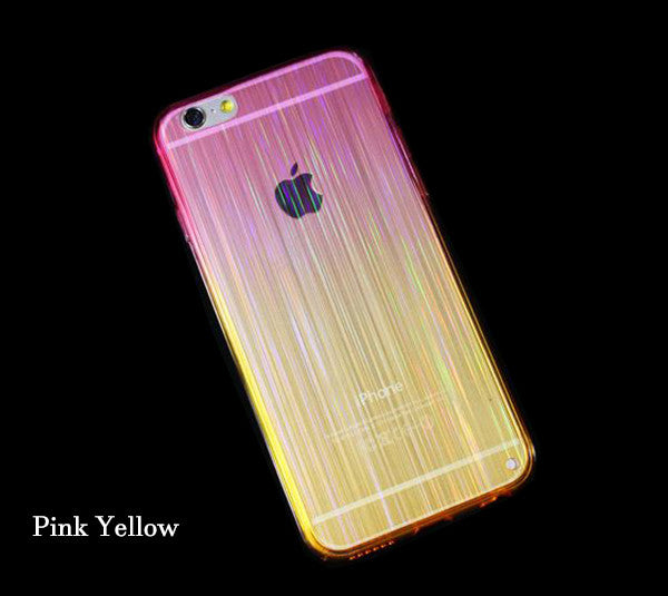 Gradient Color Glitter iPhone 6S 6 Plus 5S 5 SE TPU Case Slim Laser Stripes Pink Yellow SJK-0002-4