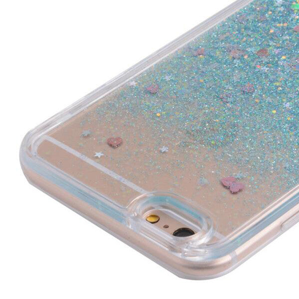new products ed244 811e2 Pink Waterfall Glitter Bling Heart Love Shape Quicksand iPhone 6 Clear Case  Hard PC With Soft TPU Frame SJK-004-4