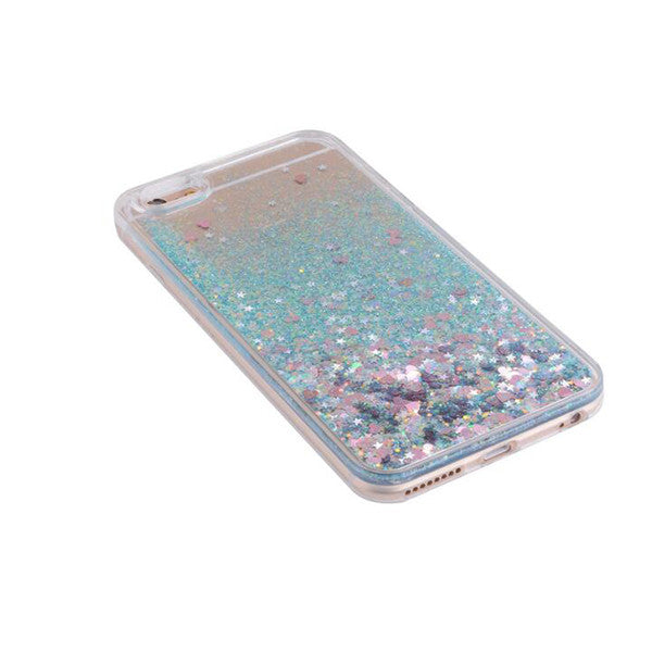 Blue  Waterfall Glitter Bling Heart Love Shape Quicksand iPhone 6 Clear Case Hard PC With Soft TPU Frame SJK-004-2