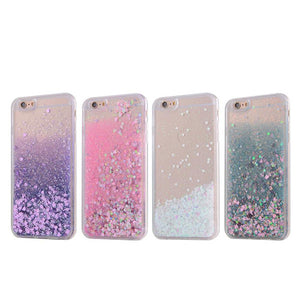 Blue  Waterfall Glitter Bling Heart Love Shape Quicksand iPhone 6 Clear Case Hard PC With Soft TPU Frame SJK-004-2 - Apple iPhone Xs/iPhone Xr case by Retina Designs
