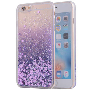 Purple Waterfall Glitter Bling Heart Love Shape Quicksand iPhone 6 Clear Case Hard PC With Soft TPU Frame SJK-004-3 - Apple iPhone Xs/iPhone Xr case by Retina Designs