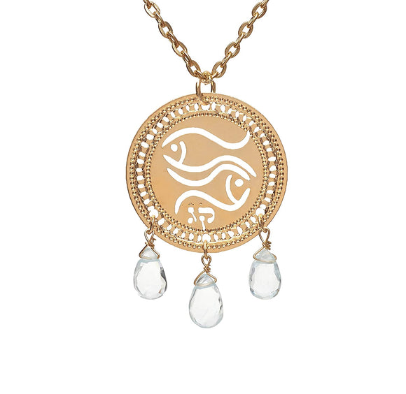 Zodiac Pisces Necklace, Gold Necklace, Birthstone, Aquamarine Necklace, Zodiac Jewelry, Astrology Jewelry, Kabbalah Jewelry, Jewish Jewelry