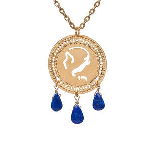 Zodiac Virgo Necklace, Gold Necklace, Birthstone Lapis, Zodiac Jewelry, Astrology Necklace, Hebrew Jewelry, Kabbalah Jewelry, Jewish Jewelry