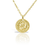 Gold Necklace, Disc Pendant Necklace, Minimalist Necklace, Flower Necklace, Modern Necklace, Delightful Jewelry, Elegant