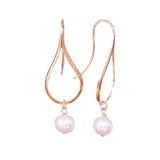 Rose Gold Earrings, Dangly Earrings, Teardrop Earrings, Modern Jewelry, Pearl Earrings, Greek Jewelry, Minimalist Earrings