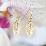 Golden Leaf Earrings, Gold Earrings, Leaves Earrings, Elegant Earrings, Short Earrings, Leaf Jewelry