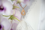 Rose Gold Necklace With Pearl, Oval Shaped Pendant, Teardrop Necklace, Pearl Necklace, Modern Jewelry