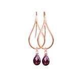 Rose Gold Earrings, Dangly Earrings, Teardrop Earrings, Modern Jewelry, Garnet Earrings, Greek Jewelry, Minimalist Earrings