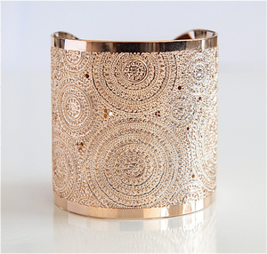 Rose Gold Cuff, Modern Jewelry, Rose Gold Bracelet, Dots And Circles, Wide Rose Gold Bracelet, Hammered Rose Gold Cuff
