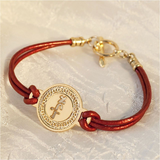 Love Jewelry, Hebrew Jewelry, Gold Coin On Red Leather Jewelry, Micro Macrame, Judaica, Gold Bracelet, Leather Bracelet, Jewish Jewelry