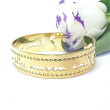 "Gold Cuff ""I Love You To The Moon And Back"" Cuff, Affirmation Jewelry, Gold Bracelet, Theta Healing, Manifesting"