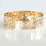 Gold Bracelet, Delicate Gold Cuff Bracelet, Gold Bracelet Cuff, Gold Cuff, Gold Bangle, Floral Bracelet, Gold Jewelry