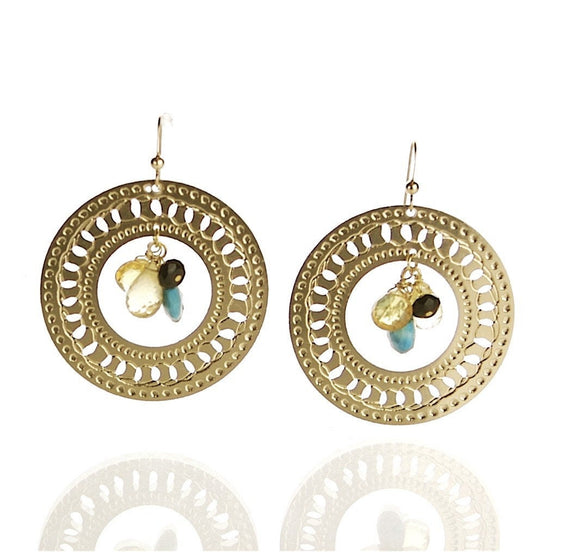 Gold Circular Earrings With Turquoise, Onyx And Citrine, Hoop Earrings, Gold Hoops, Modern Jewelry, Minimal Earrings