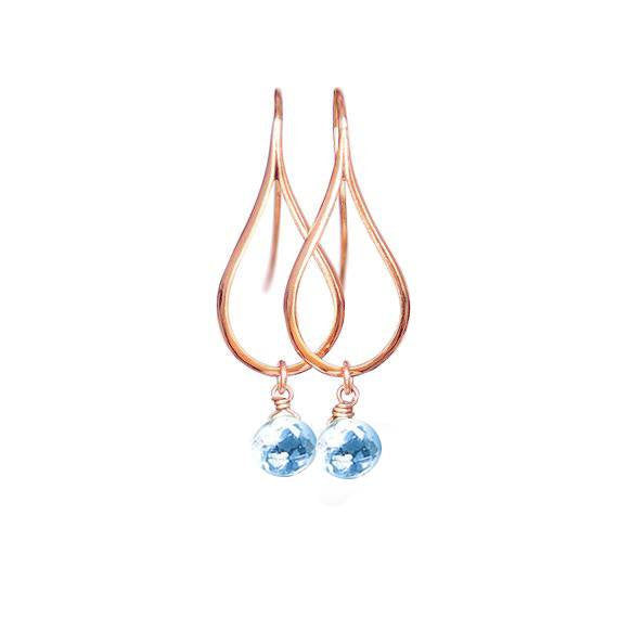 Rose Gold Earrings, Dangly Earrings, Teardrop Earrings, Modern Jewelry, Blue Topaz Earrings, Minimalist Earrings