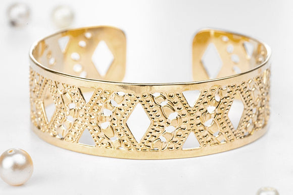 Gold Cuff Bracelet, Small Diamond Gold Cuff, Dainty Jewelry, Handmade Gold Bracelet Packaged And Ready For Gift Giving
