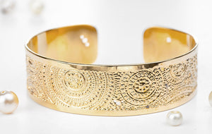 Gold Cuff Bracelet, Small Mandala Gold Cuff, Dainty Jewelry, Packaged And Ready For Gift Giving, Handmade In Israel