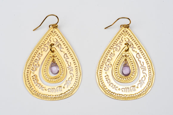 Gold Teardrop Earrings With Lavender Amethyst, Hebrew Earrings, Jewelry For Women, Jewish Jewelry, Designers Earrings, Judaica