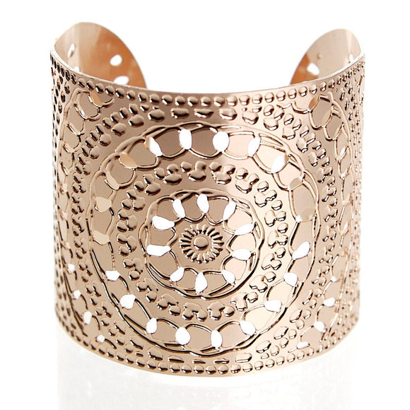 Wide Rose Gold Bracelet, Rose Gold Bangle, Henna Jewelry, Rose Gold Jewelry, Statement Cuff, Moroccan Jewelry