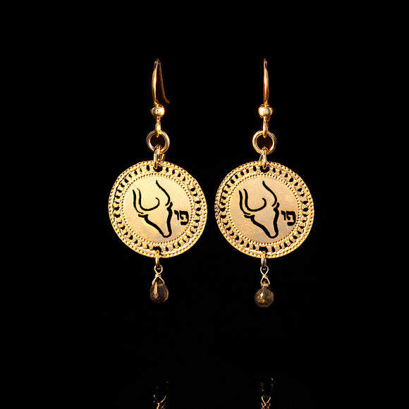 Zodiac Taurus Earrings, Gold Earrings, Star Sign Jewelry, Birthstone Emerald, Zodiac Jewelry, Astrology, Spiritual Jewelry, Jewish Jewelry