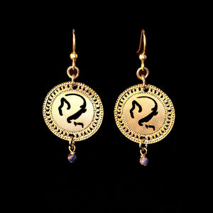 Zodiac Virgo Earrings, Gold Earrings, Birthstone Lapis Earrings, Short Earrings, Astrology Earrings, Hebrew Jewelry, Jewish Jewelry