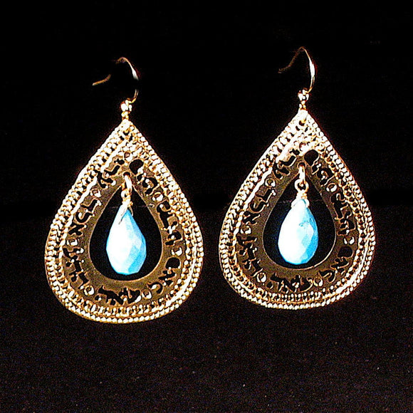 Kabbalah Gold Earrings, Turquoise Earrings, Teardrop Earrings, Religious Jewelry, Inspirational, Gold Jewelry, Unique Jewish Jewelry
