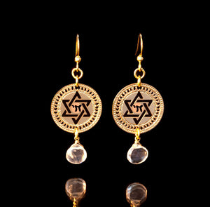 Gold Earrings, Star Of David, Hebrew Jewelry, Star Chai Jewelry, Judaica Jewelry, Life, Gold Jewelry, Blue Topaz Jewelry