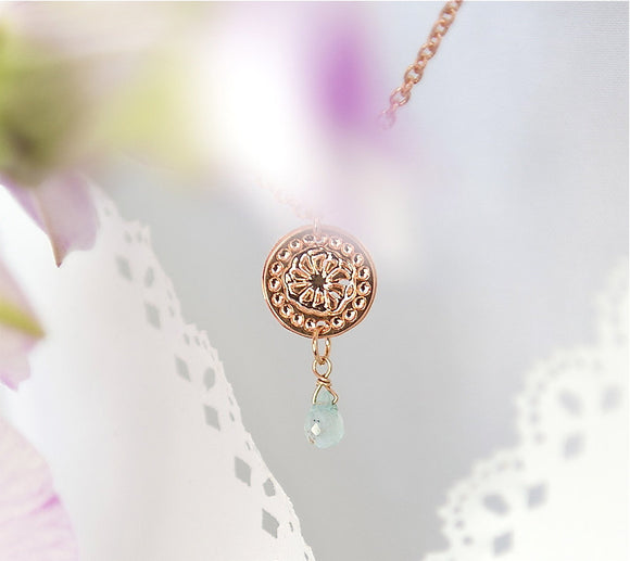 Rose Gold Necklace, Thin Chained Necklace, Flower Jewelry, Aquamarine Jewelry, Modern Necklace, Minimal Necklace