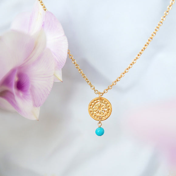 Gold Necklace, Thin Chained Necklace, Turquoise Necklace, Flower Jewelry, Modern Necklace, Minimal Necklace, Wedding Jewelry