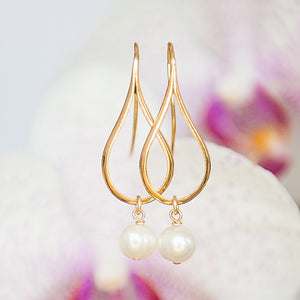Gold Earrings, Dangly Earrings, Teardrop Earrings, Modern Jewelry, Pearl Earrings, Greek Jewelry, Minimalist Earrings