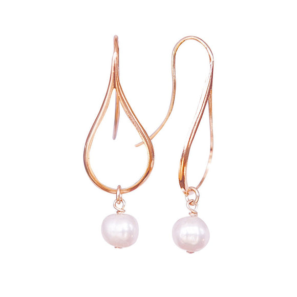 Rose Gold Earrings With Pearls, Dangly Earrings, Teardrop Earrings, Modern Jewelry, Pearl Earrings, Minimalist Earrings